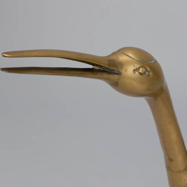 Pair of Mid-Century Tall Brass Crane Statues In Good Condition For Sale In Troy, MI