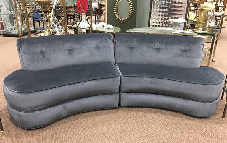 Mid Century Kagan Style Two Piece Curvy Velvet Sofa For