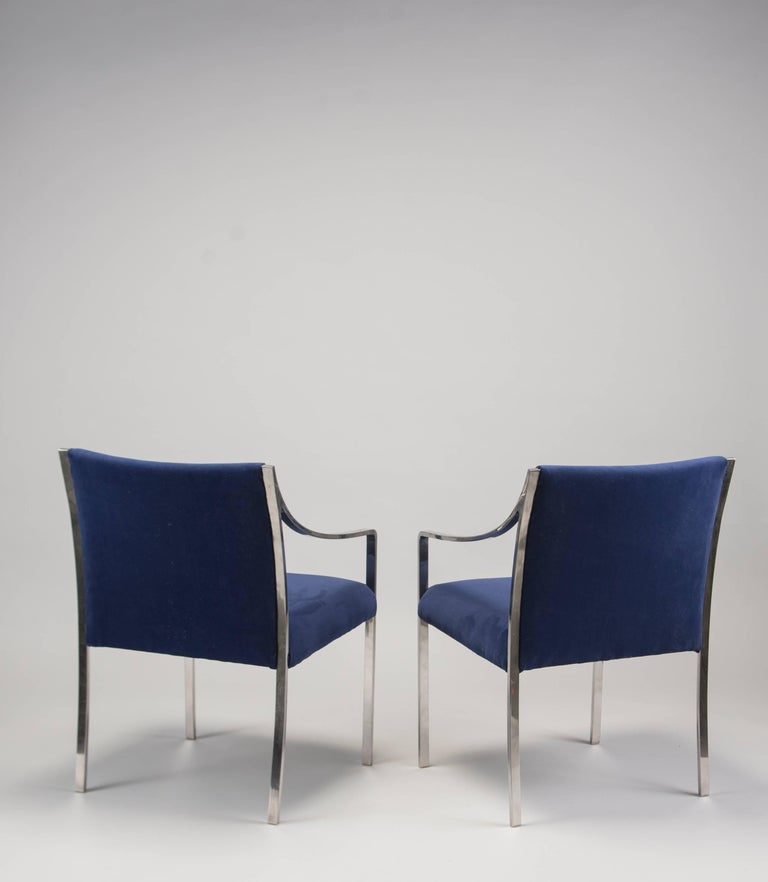 Polished Pair of Midcentury Bert England for Stow Davis Steel Frame and Velvet Arm Chairs For Sale