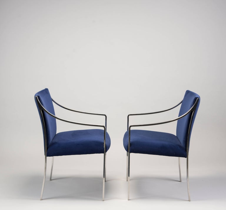 Mid-Century Modern Pair of Midcentury Bert England for Stow Davis Steel Frame and Velvet Arm Chairs For Sale