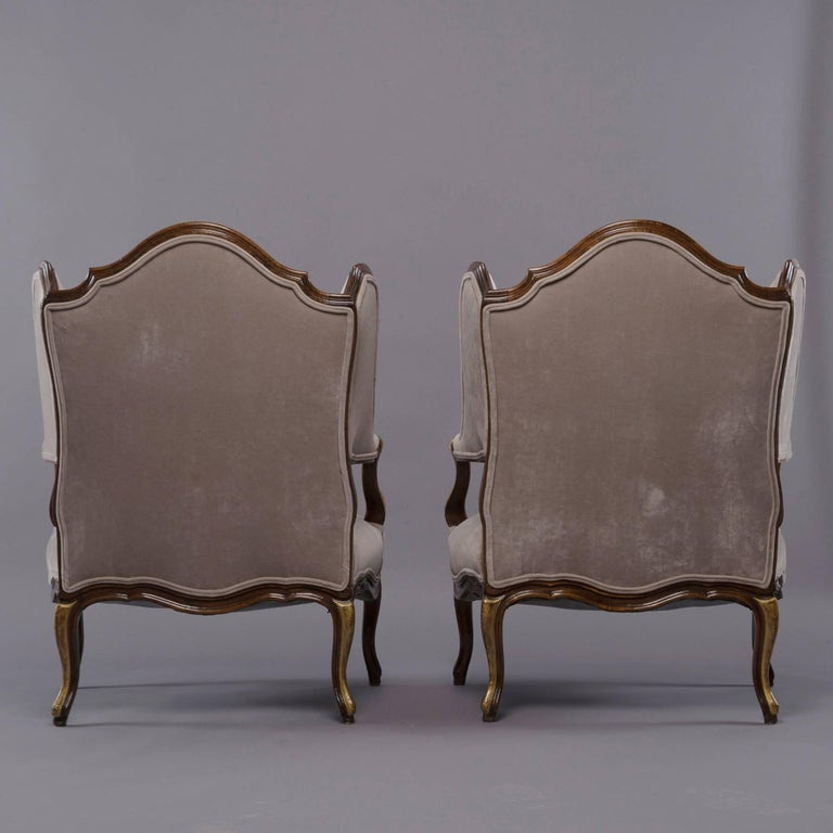Pair of French Walnut Wing Chairs with Gilt Detailing In Excellent Condition For Sale In Troy, MI