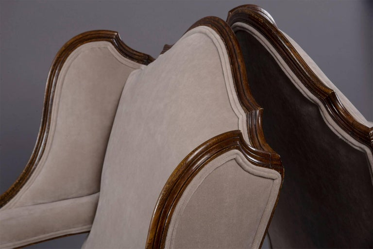 Pair of French Walnut Wing Chairs with Gilt Detailing For Sale 3