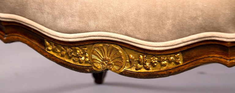 Pair of French Walnut Wing Chairs with Gilt Detailing For Sale 4