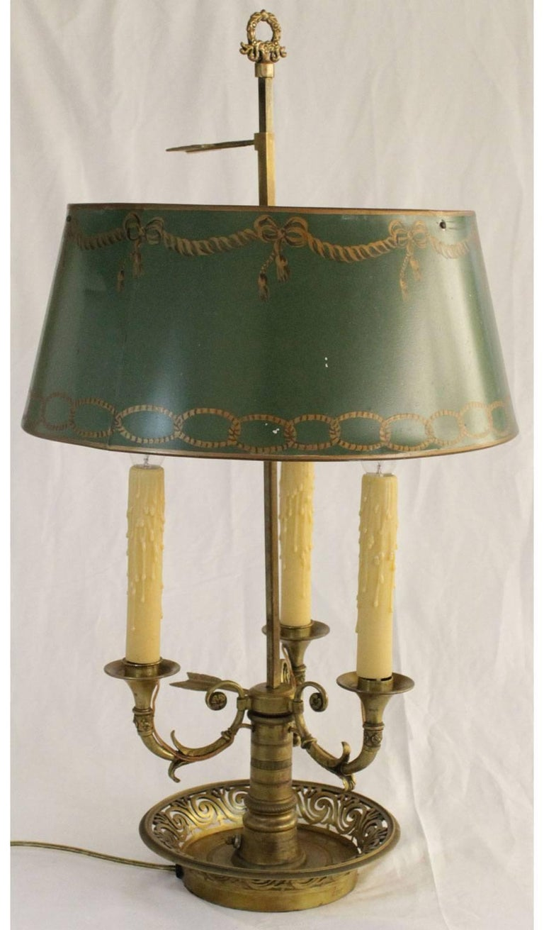 Brass Bouillotte Lamp With Painted Tole Shade At 1stdibs