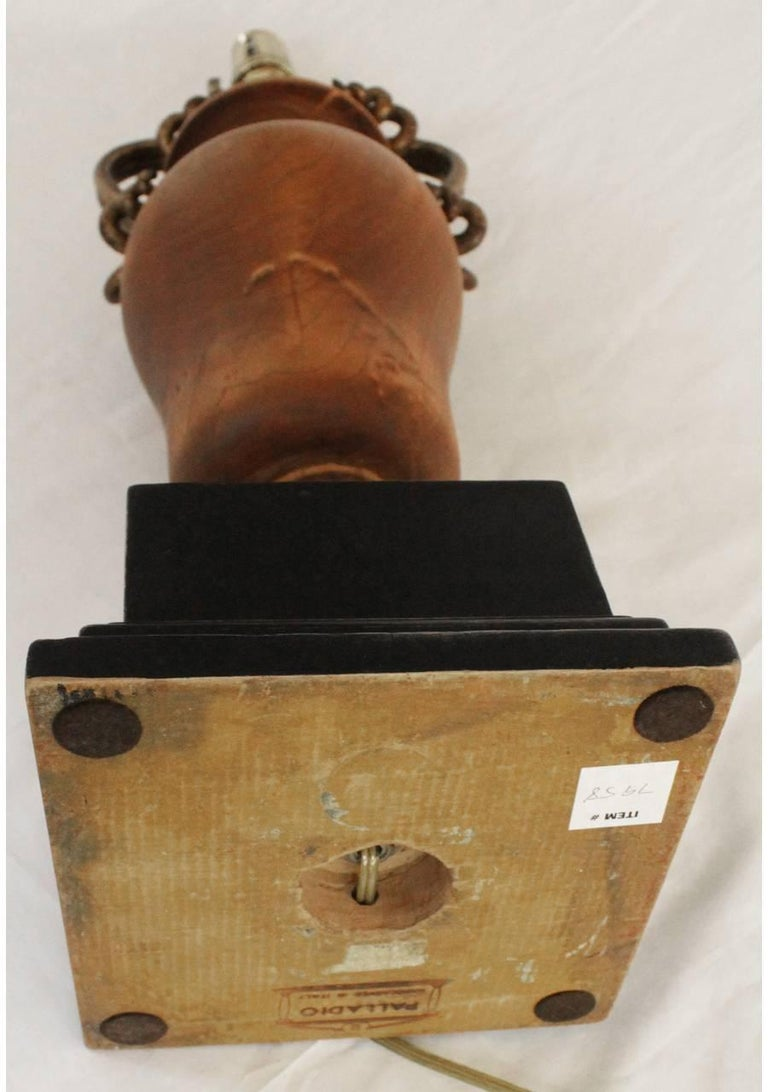 Wooden Urn Lamp by Palladio In Excellent Condition For Sale In West Palm Beach, FL