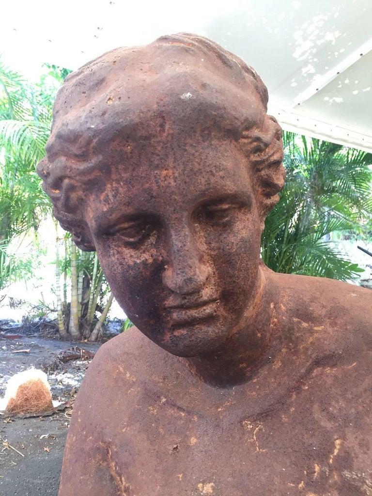 Italian Monumental Cast Iron Bust of Venus de Milo For Sale