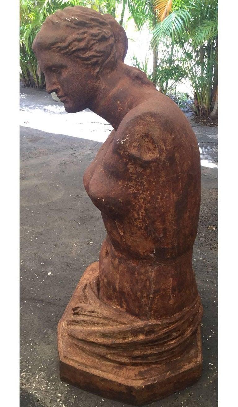20th Century Monumental Cast Iron Bust of Venus de Milo For Sale