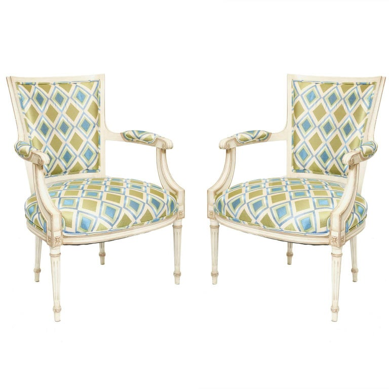 Pair of Painted French Fauteuils