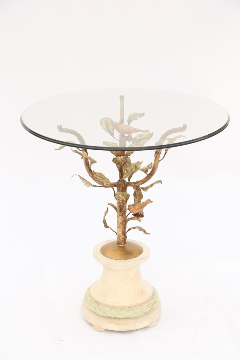 Giacometti Style Gilded Iron Occasional Table with Glass Top In Excellent Condition For Sale In West Palm Beach, FL