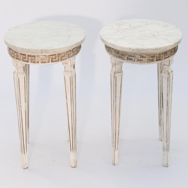 Pair of Marble-Top Italian Accent Tables with Greek Key Apron For Sale 1