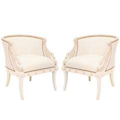 Pair of Empire Style, Swan-Form, Armchairs