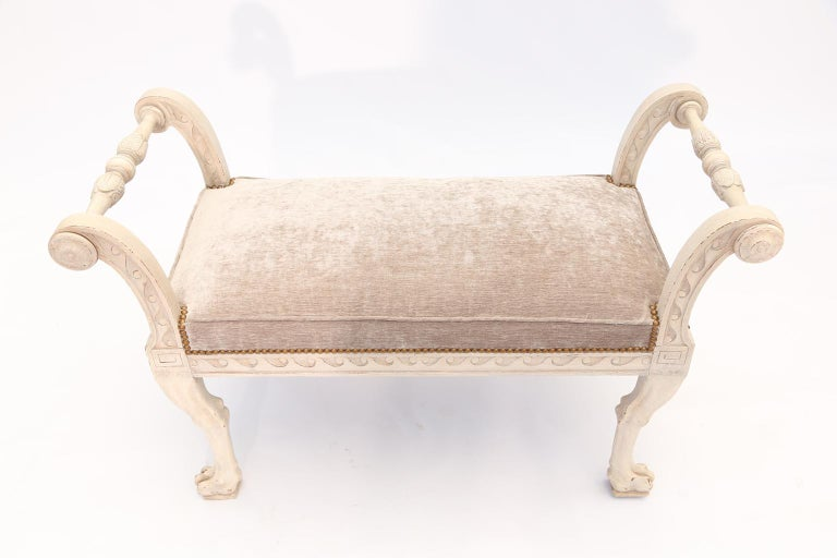Carved Painted Walnut Italian 19th Century Curule Bench For Sale