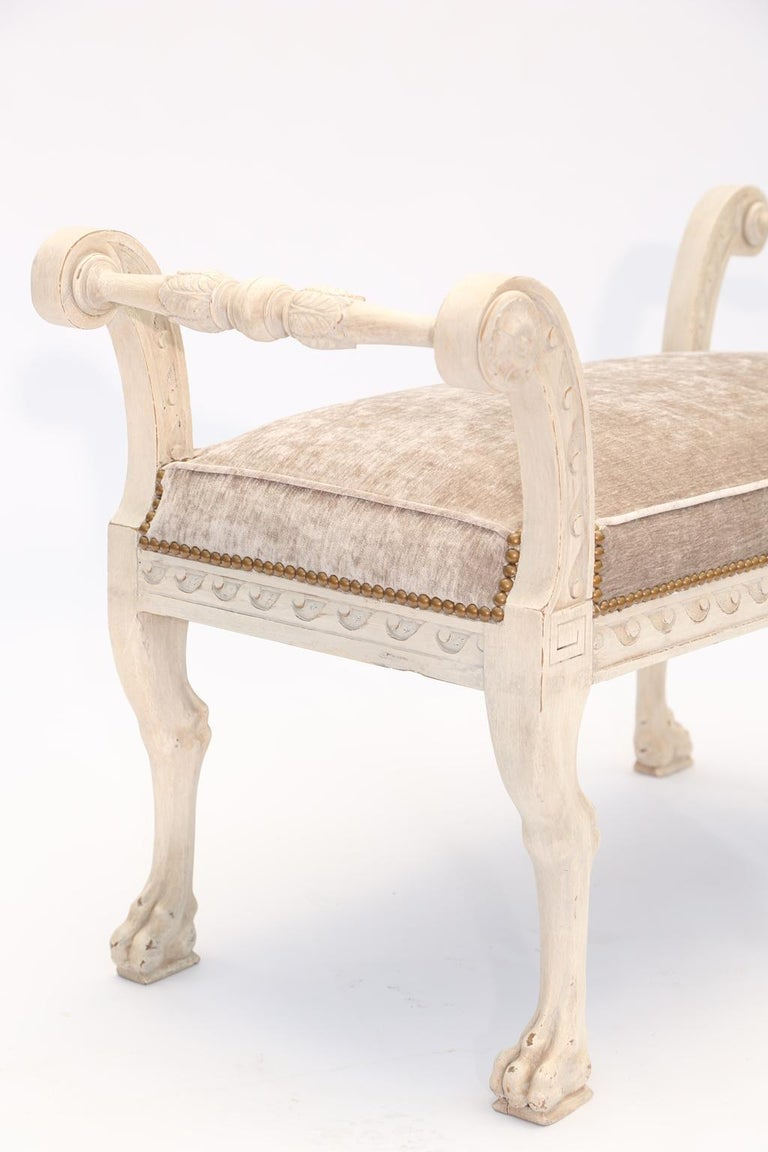 Wood Painted Walnut Italian 19th Century Curule Bench For Sale