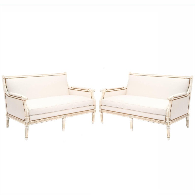 Pair of Louis XVI Style Upholstered Sofas