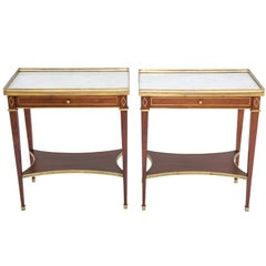 Pair of Directoire Style, 19th Century, Mahogany End Tables with Marble Tops