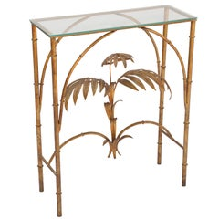 Gilded Iron Palm Tree Console Table