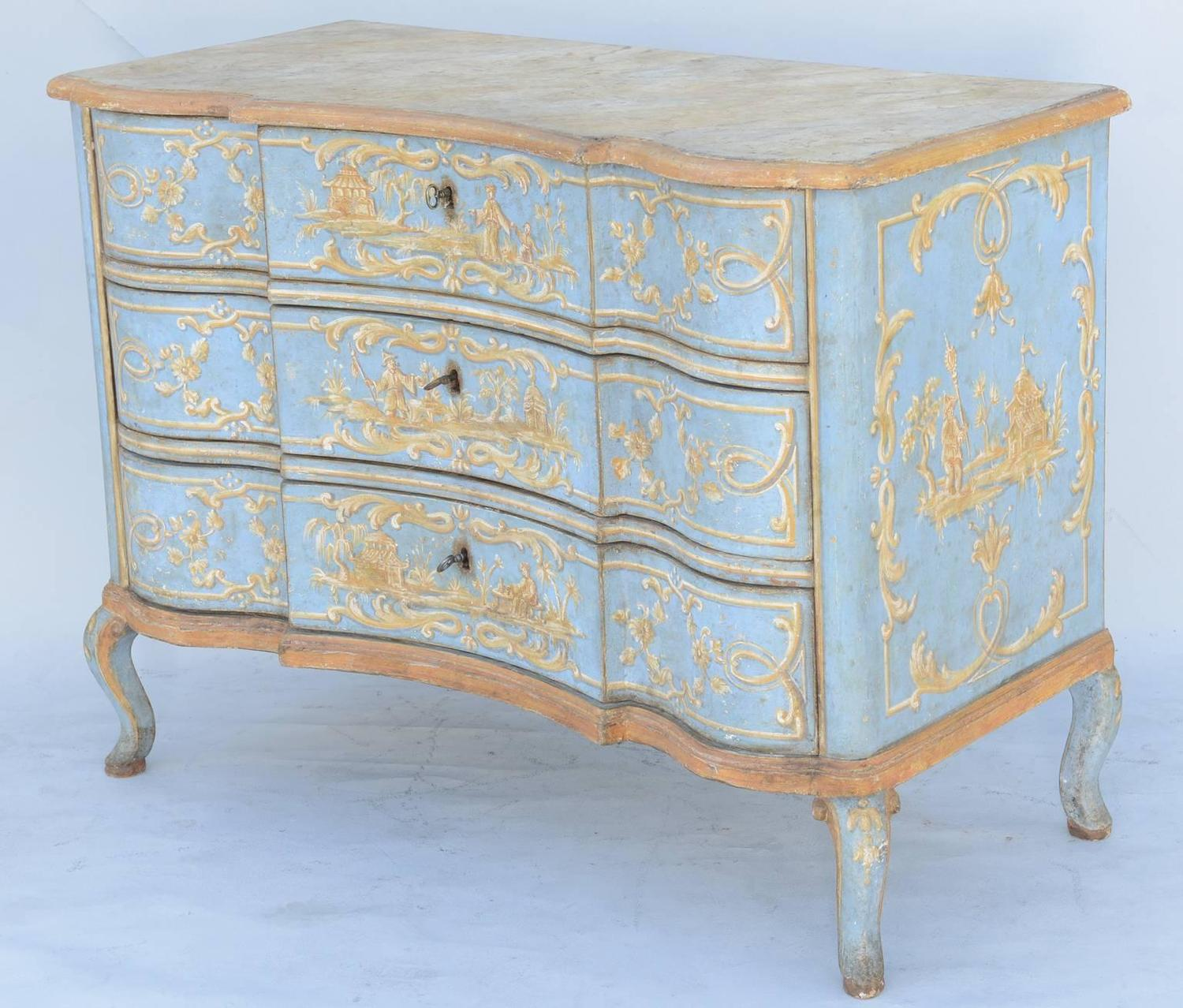 hand painted venetian 18th century commode for sale at 1stdibs. Black Bedroom Furniture Sets. Home Design Ideas