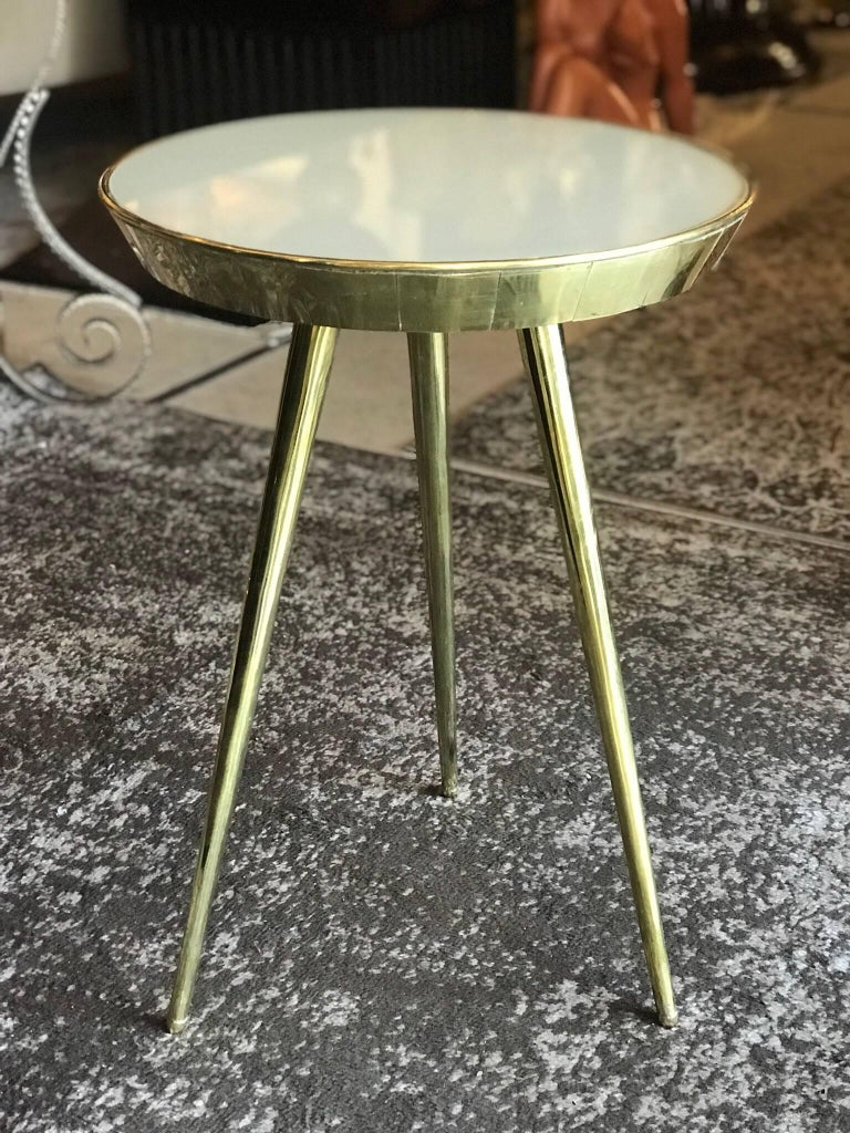 Mid-Century Modern Pair of Midcentury Italian Taupe Glass and Brass Side Tables For Sale