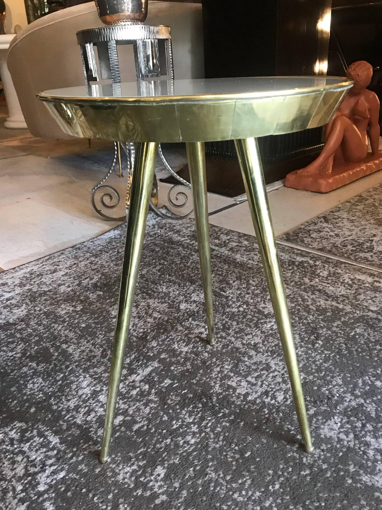 Pair of Midcentury Italian Taupe Glass and Brass Side Tables For Sale 1