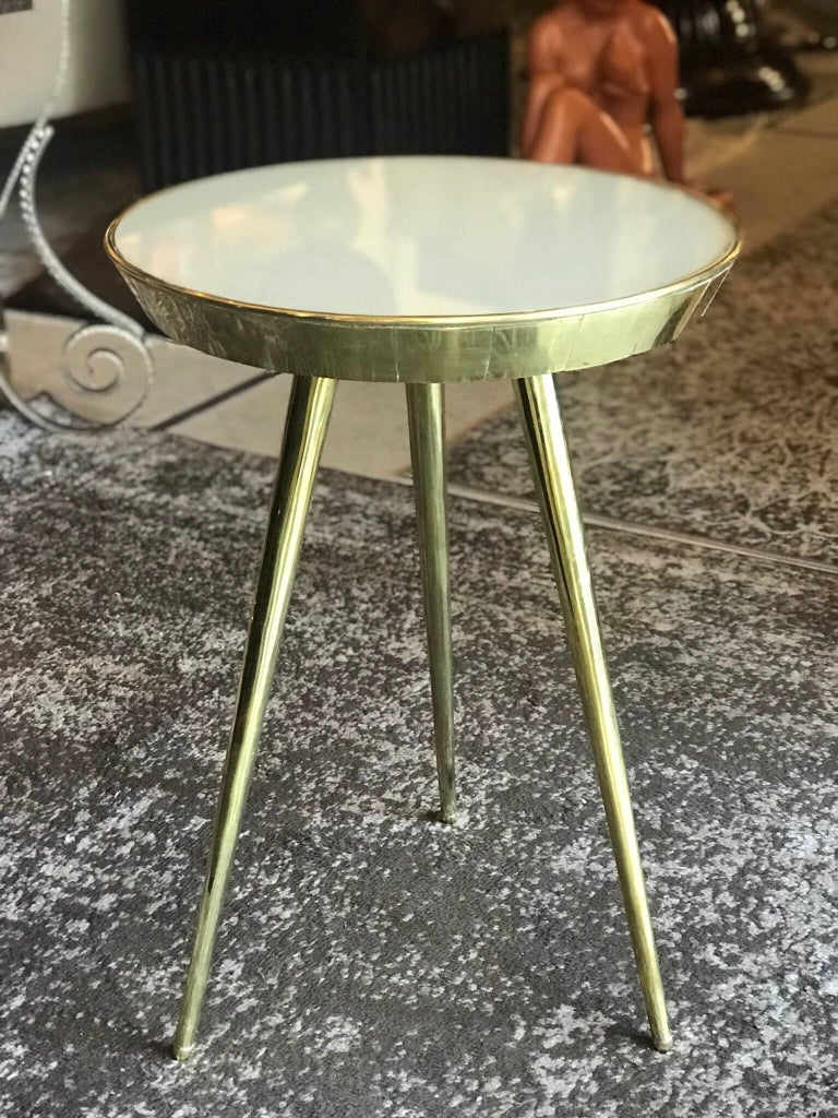 Pair of Midcentury Italian Taupe Glass and Brass Side Tables For Sale 2