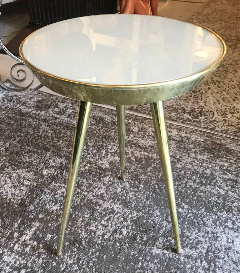 Pair of Midcentury Italian Taupe Glass and Brass Side Tables For Sale 3