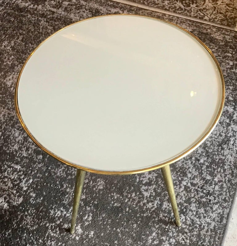 Pair of Midcentury Italian Taupe Glass and Brass Side Tables For Sale 4