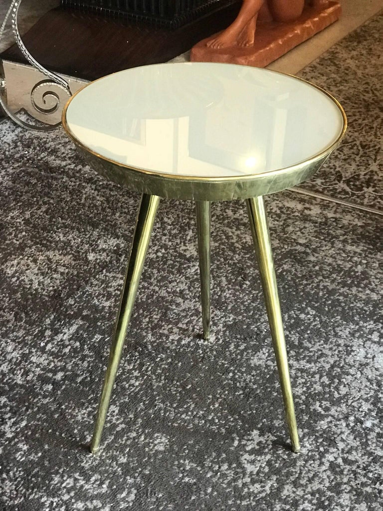Pair of Midcentury Italian Taupe Glass and Brass Side Tables For Sale 5