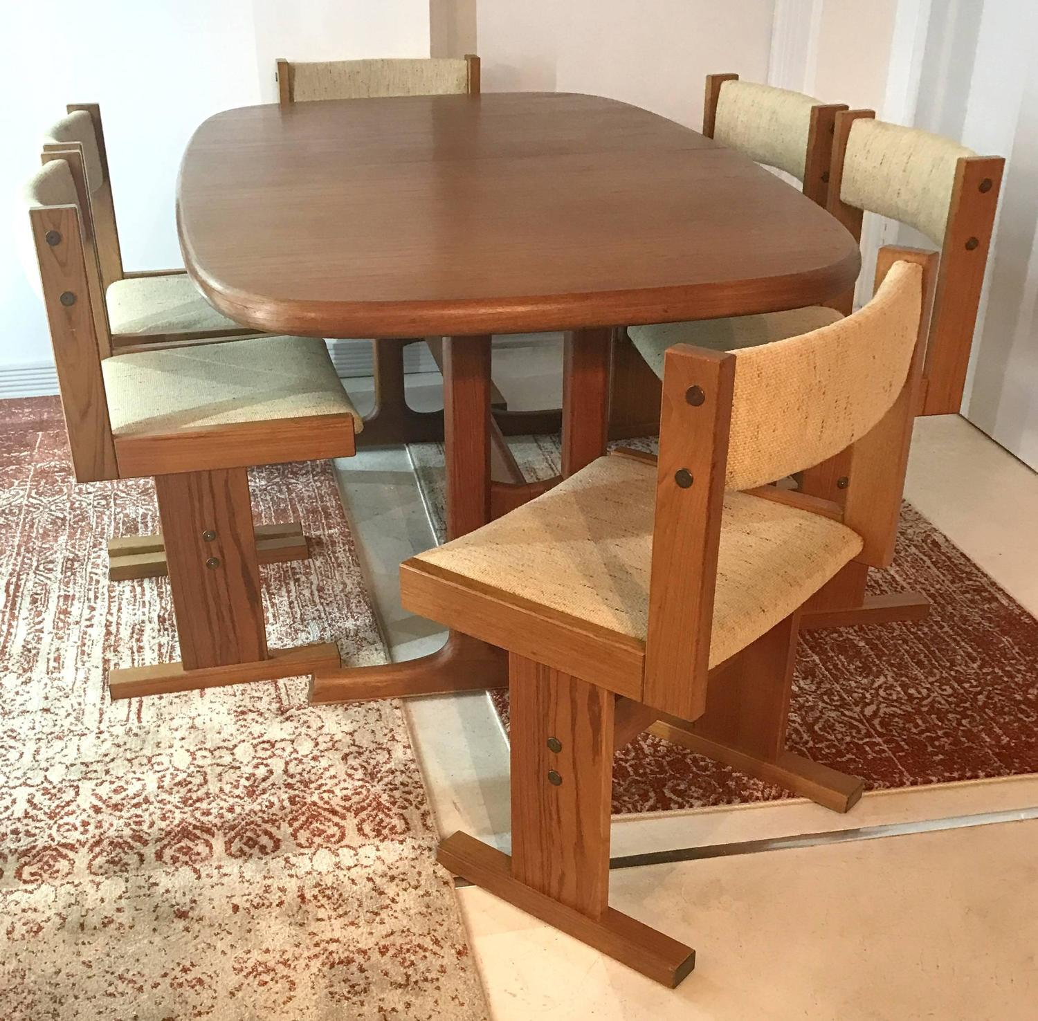 Teak Dining Room Table And Chairs: Mid-Century Danish Teak Extendable Dining Table And Six