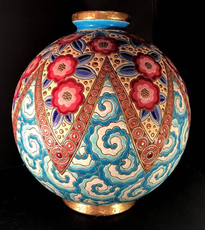 Enameled Rare French Art Deco Ceramic Vase by Longwy For Sale