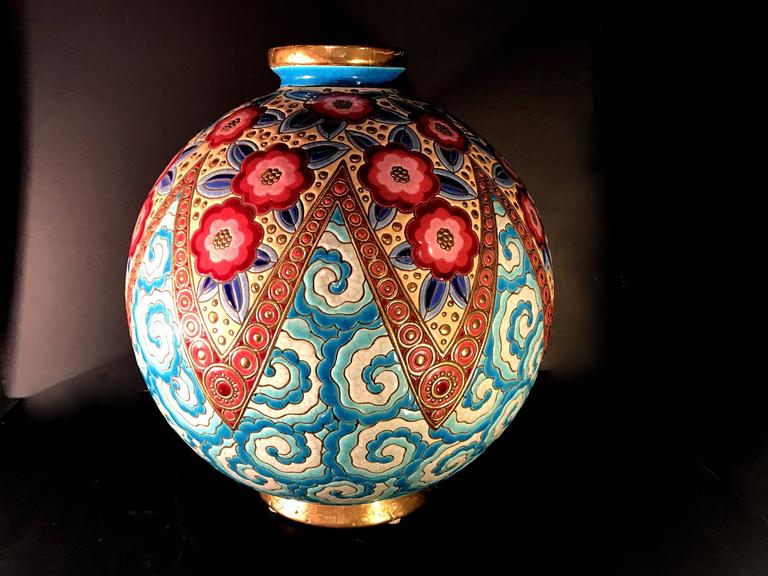 Rare French Art Deco Ceramic Vase by Longwy In Excellent Condition For Sale In Miami, FL