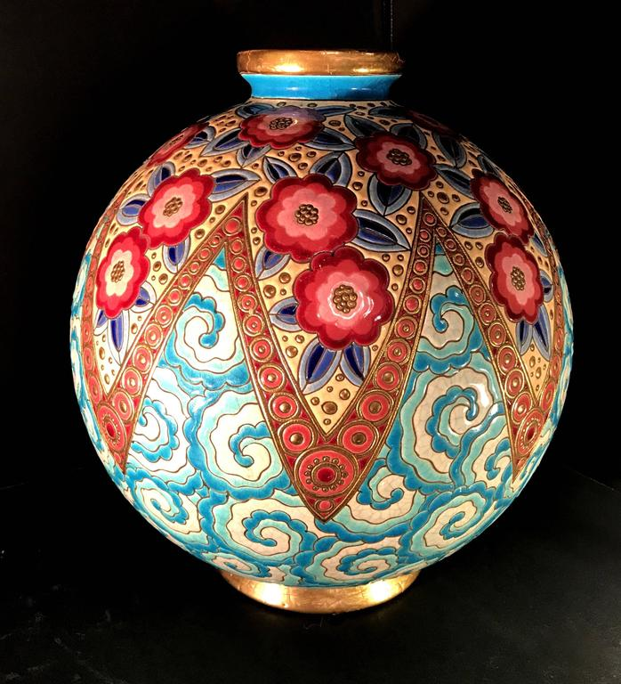 Rare French Art Deco Ceramic Vase by Longwy For Sale 3