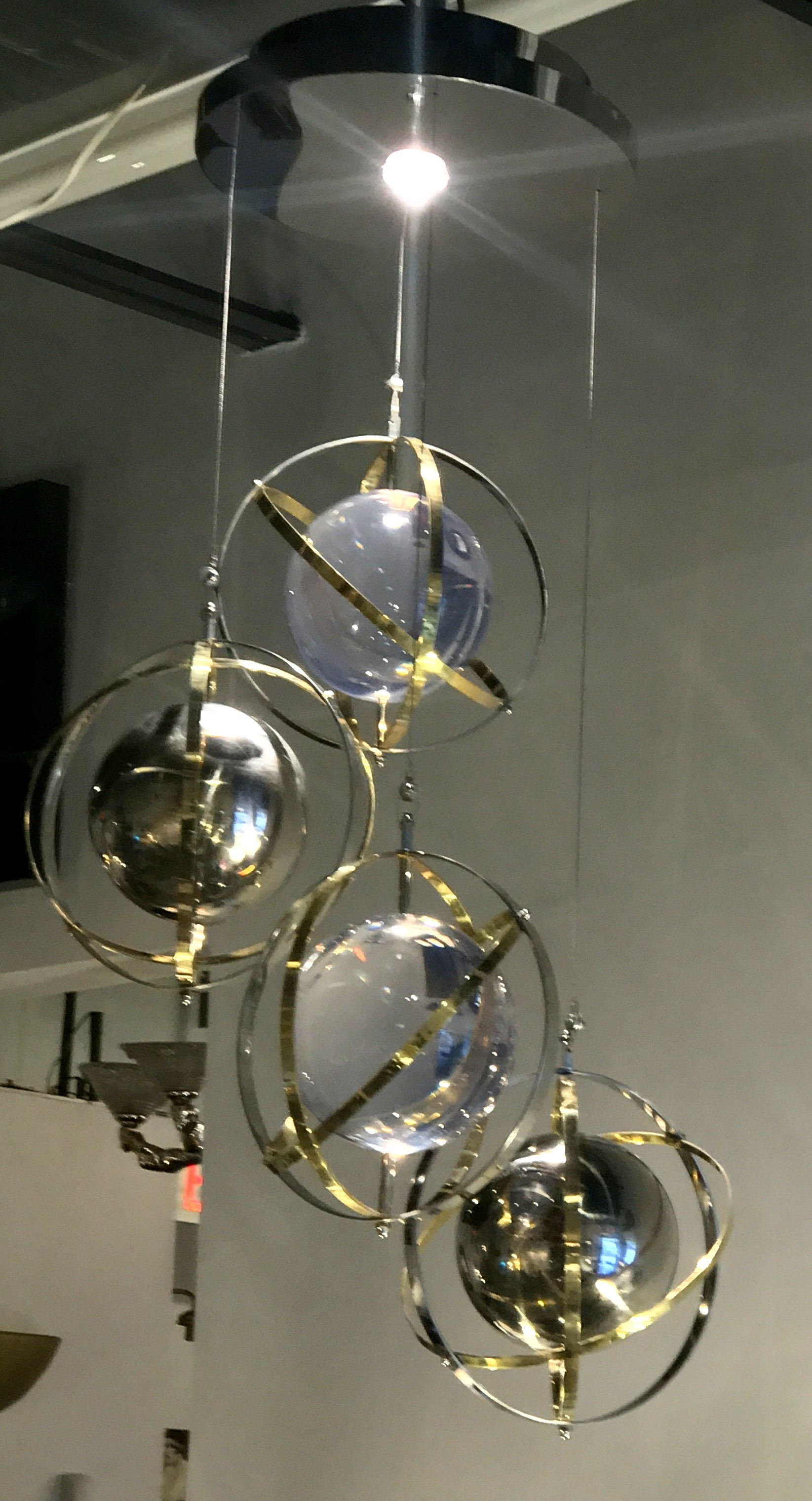 Pair of brass stainless steel and lucite armillary sphere pair of brass stainless steel and lucite armillary sphere chandeliers for sale at 1stdibs arubaitofo Image collections
