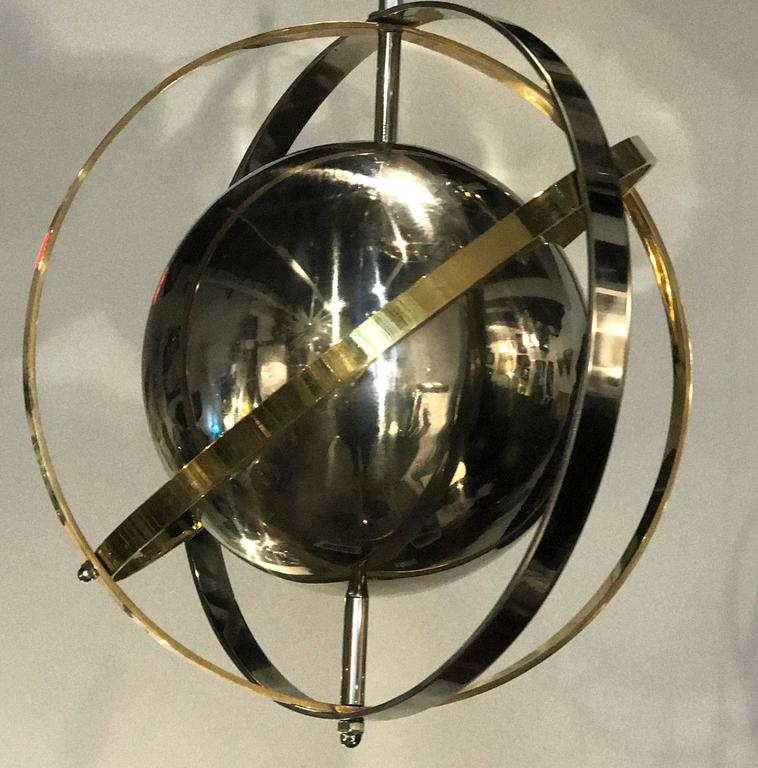 Pair of Brass, Stainless Steel and Lucite Armillary Sphere Chandeliers For Sale 2