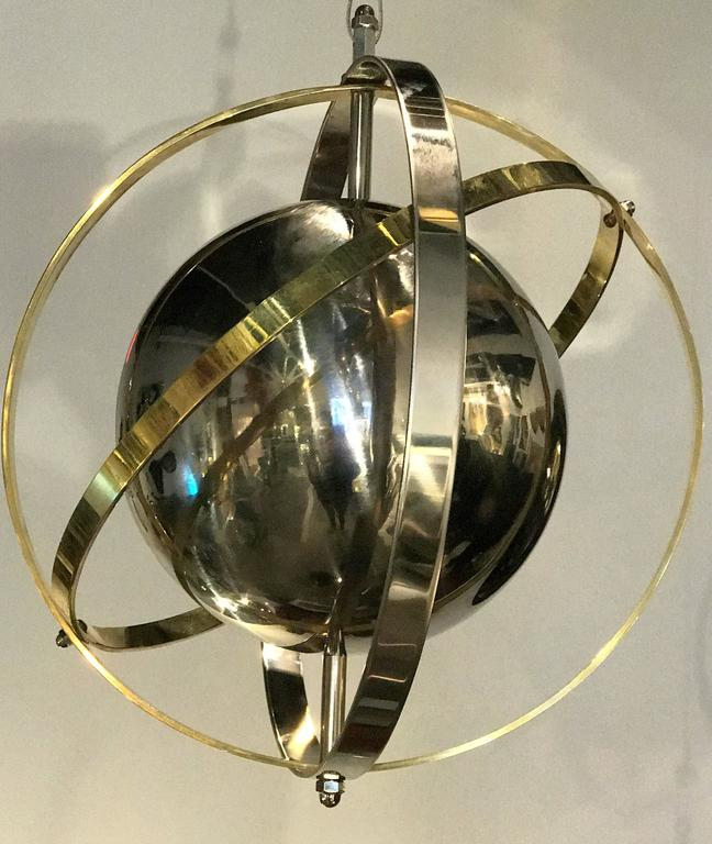 Pair of Brass, Stainless Steel and Lucite Armillary Sphere Chandeliers For Sale 4