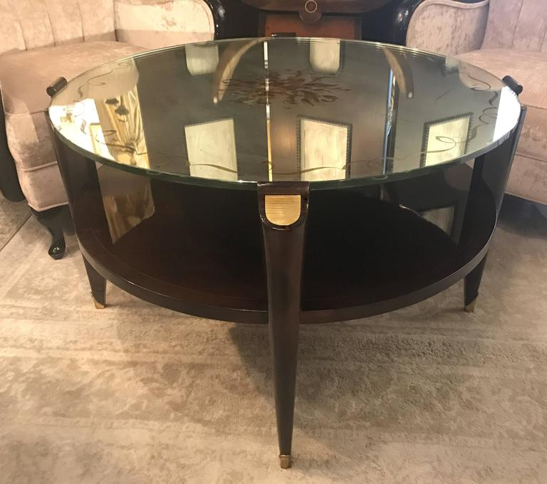 Mid-20th Century French Art Deco Coffee Table in Exotic Wood with Églomisé Mirror Top For Sale