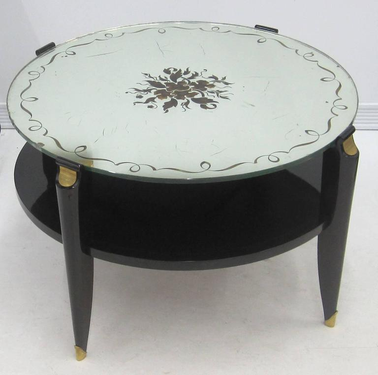 French Art Deco Coffee Table in Exotic Wood with Églomisé Mirror Top For Sale 5