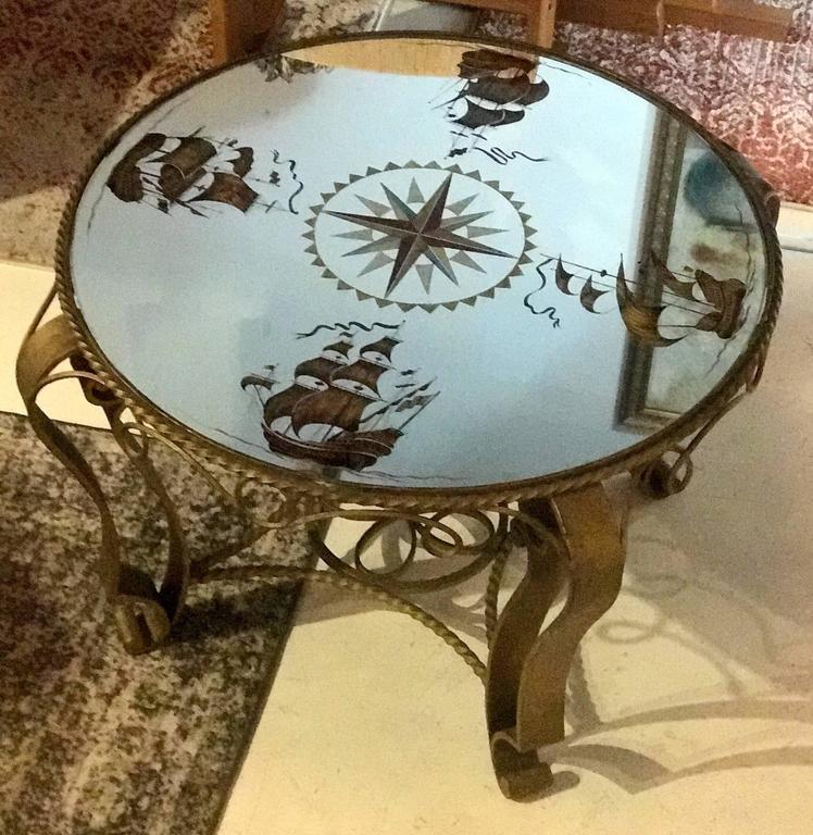 Hollywood Regency French Nautical Églomisé Mirror Topped Coffee Table, circa 1940
