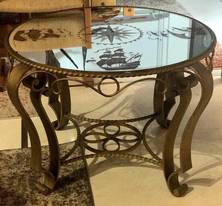 Gilt French Nautical Églomisé Mirror Topped Coffee Table, circa 1940
