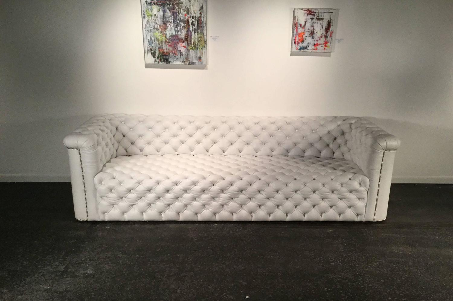 White Leather Chesterfield Sofa by Luigi Gentile at 1stdibs