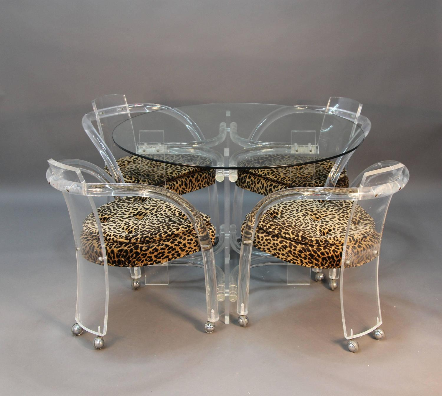 Lucite Table And Four Chair Set With Leopard Print Seats
