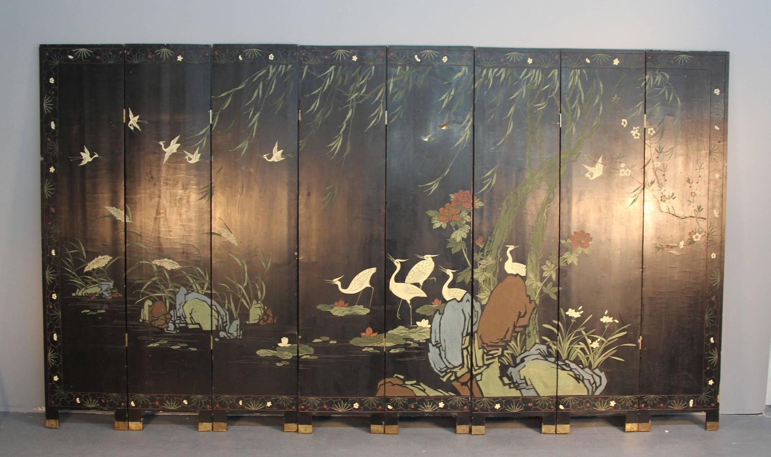 Eight panel asian folding screen at 1stdibs for Chinese furniture norwalk ct