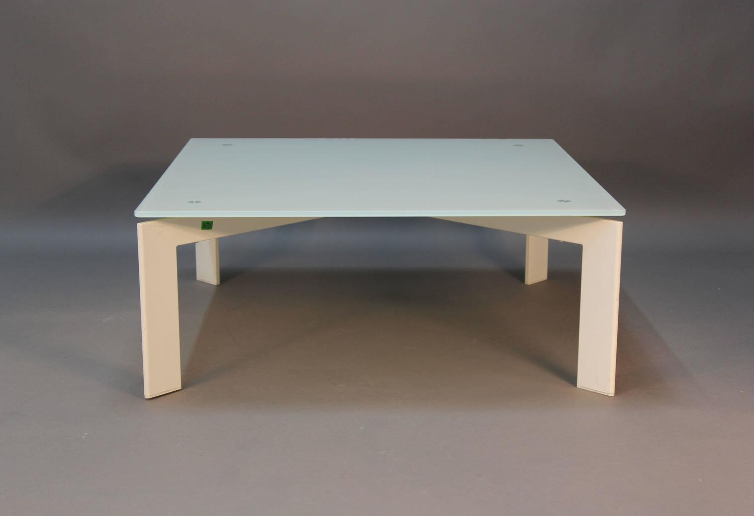Modern Glass Coffee Table White Base With Frosted Glass For Sale At 1stdibs