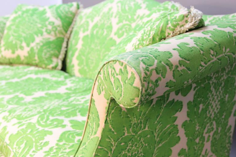 Late 20th Century Vintage Camelback Sofa with Green Printed Upholstery For Sale