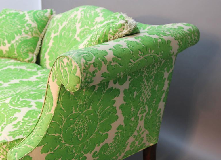 Vintage Camelback Sofa with Green Printed Upholstery For Sale 1