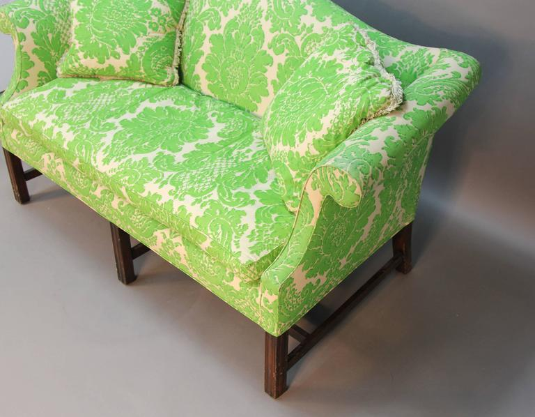 Vintage Camelback Sofa with Green Printed Upholstery In Good Condition For Sale In Norwalk, CT