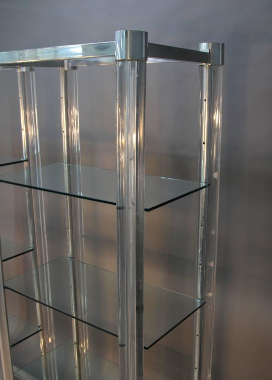Amazing Pair Of Lucite And Chrome Glass Shelf Etageres For Sale At 1stdibs