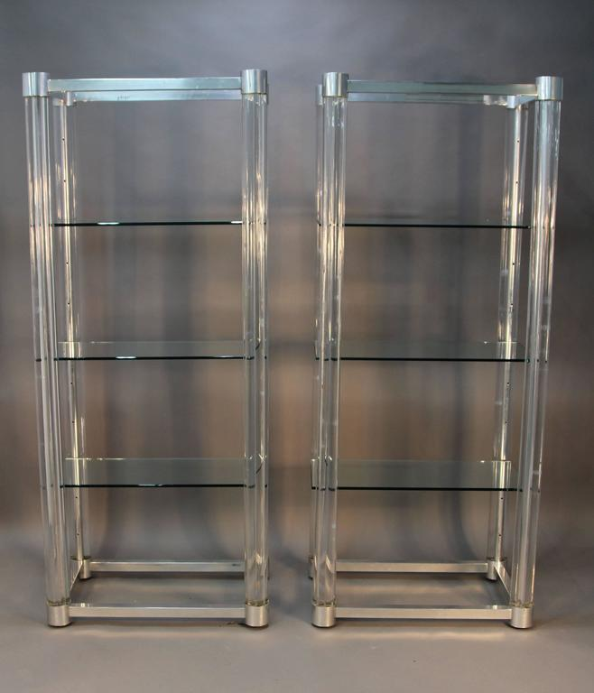 Amazing Pair Of Lucite And Chrome Glass Shelf Etageres At
