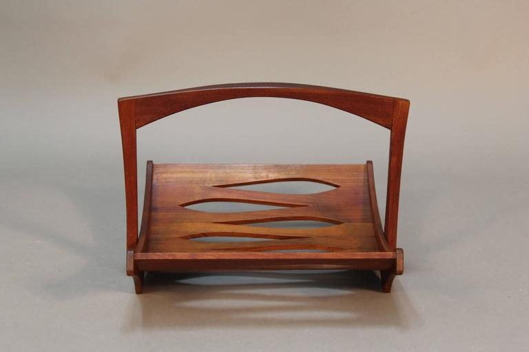 Mid-Century Modern Jens Quistgaard Staved Teak Magazine Rack for Dansk For Sale