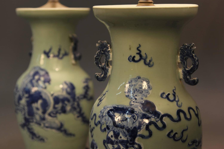 Pair of chinese celadon vase lamps at 1stdibs for Oriental furniture norwalk ct
