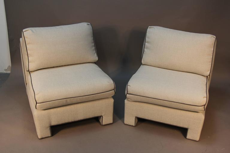 Pair of Upholstered Billy Baldwin Slipper Chairs at 1stdibs